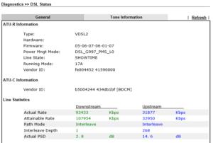 Diagnostics > DSL Status