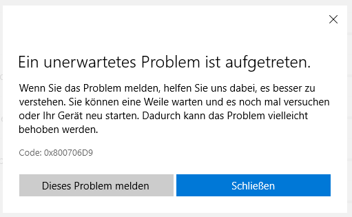 Windows 10: Updates from Microsoft Store failed with 0x800706D9