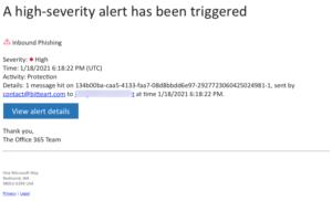 Protection Alert sample: Inbound Phishing