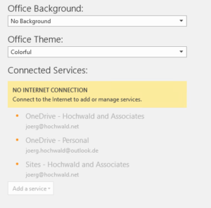 Online Services are not available in the Office 365 suite