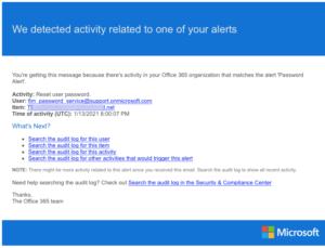 Activity Alert Sample: Password Alert